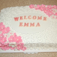 Girl Baby Shower   All buttercream with fondant flowers and chocolate letters.