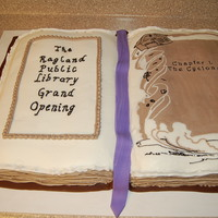 Library Grand Opening All buttercream, except fondant book marker and molding chocolate book cover.
