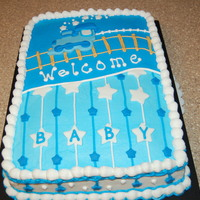 Boy Train Baby Shower Cake  Design was borrowed from a fellow cakecentral caker....sue_dye. I LOVED her design and her cake turned out way cuter than mine, but I...