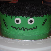 Frankenstein Chocolate Frankenstein cake made for a coworker's son. He's turning three so we wanted it to be cute - not scary! All buttercream...