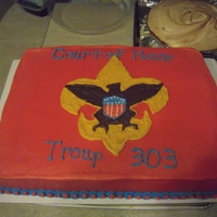 Boy Scouts Red I made this cake for a friend whose son is celebrating the Court of Honor. Chocolate cake with buttercream.
