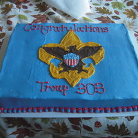Boy Scouts Blue I made this cake for a friend whose son is celebrating the Court of Honor. Chocolate cake with buttercream.
