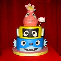 Yo Gabba Gabba   Cake made for a friend's daughter's 1st birthday. Didn't even know these characters existed until she asked for it!
