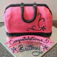 Pink Black Handbag for an 8th grade graduation party...my very first handbag cake. Lumpy! LOL!!