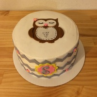 Owl Baby Shower Cake butter cream with mmf accents