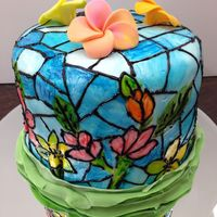 Hand Painted Stain Glass Cake Very first hand painted stain glass cake. Little green ombré ruffles.