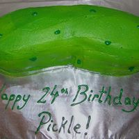 Happy Birthday Pickle! Made this for a birthday boy who always asks people if they want a pickle. Half chocolate cake, half strawberry cake. Buttercream and green...