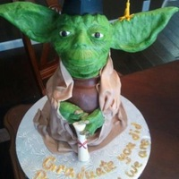 Yoda, Starwars, Birthday, Graduation, Star Wars, Cake This is a Yoda cake I did for a girl graduating HS who loves Yoda. He stands 2 feet tall. His head, ears, arms and feet are rice crispy...