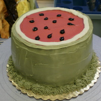 "Watermelon Cake this is my first food type cake. 6"" cake all with buttercream icing."