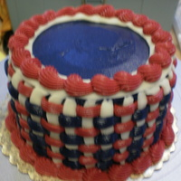 "Red/white/blue Basketweave This is 6"" red white & blue with buttercream basketweave. I left the top blank incase a customer wanted something written there."