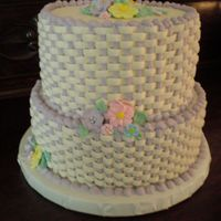 "Bridal Shower Cake  This is my first stacked cake. Its a 10"" & a 8"" white cake with buttercream basketweave. The flowers are made of sugar (I did..."