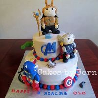 Avengers Assemble Avengers cake for my daughter based upon the Marvel POP figures. I did her three favorites characters, Loki, Thor and Captain America. Loki...