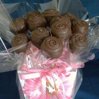 Cake Pop Bouquet chocolate raspberry cake pops arranged in a bouquet for mother's day