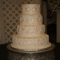Dana Buttercream iced, lace done in white chocolate/fondant mix.