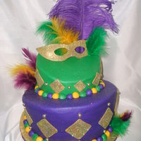 "Mardi Gras For People In Need Event  This was a cake done for our local food pantry's fundraiser. 2 tiers, 9"" and 6"" - WASC and Chocolate fudge cake. Iced and..."
