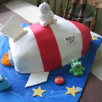 Rocket Ship Rocket ship cake - cake covered in fondant with little fondant astronauts & aliens!
