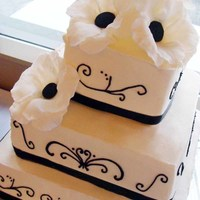 Black And White   Simple Black and White design for an elegant square tiered wedding cake.