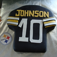 Steelers Jersey Cake I made this as a grooms cake with the groom's last name across the top.