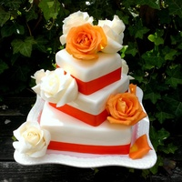 Tangerine Wedding Cake Real Roses tangerine wedding cake (real roses)