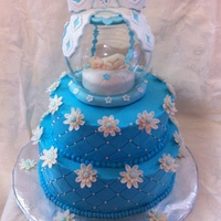 Keepsake Baby Shower This is a buttercream frosted cake with white dragees and a glass keepsake topper with gumpaste baby and accents. Thanks for all the great...