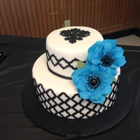 Black White And Turquoise Cake   Black white and turquoise cake