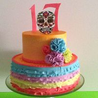 Day Of The Dead Themed Cake For A Friends Daughter It Came Out Pretty Cheerful   Day of the Dead themed cake for a friends daughter. It came out pretty cheerful.