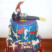 16Th Birthday Scuba Diver Cake Chocolate cake with fondant decorations. Wished I had not set her legs so straight! Girl has red streak in front of her hair which she had...
