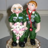 Paramedics Wedding Cake Topper Handmade gumpaste figures made for good friends. This is now on it's way to the UK, hope it gets there in one piece,from my little...