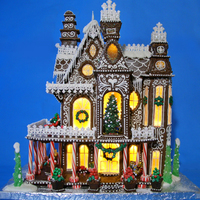 "Gingerbread House 2014 This is my Gingerbread House for 2014. It is based on a 3d Fantasy Villa Puzzle. The house is 19 1/2"" x 15"" and is made from..."