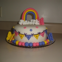 Rainbow Rainbow cake covered with white chocolate fondant