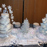 Sweet 16 Winter Wonderland entire 'cake-scape' - was a Sweet 16 birthday with a Winter Wonderland theme.