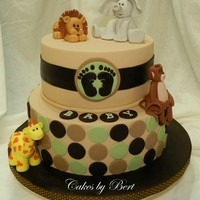 "Baby Animal Themed Baby Shower Brown & green color scheme with baby animals. 8"" and 10"" cakes covered in fondant. Thanks to Aine2 for her great online..."
