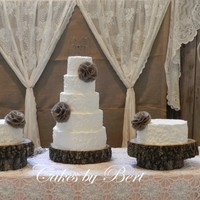 "Emily 2013 Rustic theme wedding cake - 6""-8""10""-12""-14"" with two 12"" side cakes. Displayed on real cross cut wood slabs..."