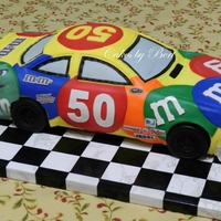 50Th Birthday Tried my best for replica of Kyle Busch #18 Nascar. The car number is the birthday girls age! Carved out of 2 - 12x18 chocolate sheet cakes...