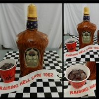 Crown Royal Birthday Everything is Edible. The bottle is 16 inches tall, made from all carrot cake covered in fondant. No RKT was used in this cake. The red...