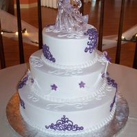 Purple Scroll Wedding Cake   Purple scroll wedding cake