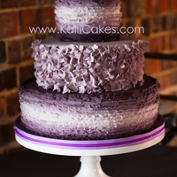 Purple Ombre Frill Wedding Cake 10 different shades of plum help to create this cake inspired by the Famous Maggie Austin cake.
