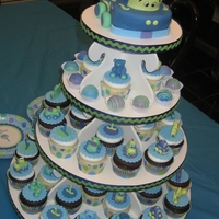 Cars And Trucks 1St Birthday Cupcake Tower Figures modeled after birthday boy's favorite toys. All fondant. Cake truck topper. Color coordinated cake balls.