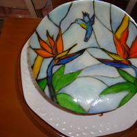 Stained Glass Hand Painted Birds Of Paradise Flowers And Sunbird
