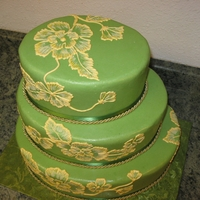 Green & Gold My first big cake with brush painting. Everyone loved it, what a relief!