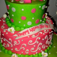 Pink/green Birthday   all buttercream with fondant accents