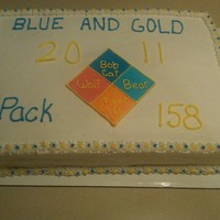 Cub Scout Blue & Gold Ceremony Cake white cake frosted on b/c