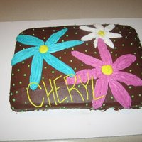 Flower Cake chocolate frosting, flowers & name in b/c