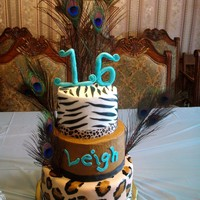 Animal Fun  three tiered animal print. top tier zebra bc w/ fondant stripes, 2nd-brown bc, 3rd-fondant hand painted leopard accents. Also peacock...