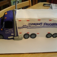 Big Rig   18 wheeler truck...carved from sheet cakes w/ fondant wheels.