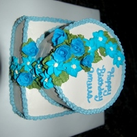 Simple Tier B-Day Cake Almond cake, BC with fondant and royal flowers. TFL