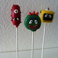 Yo Gabba Gabba Pops Muno, Brobee and Plex cake pops for my sons 2nd birthday.