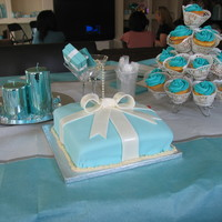 Tiffany Box And Cupcakes Tiffany Box and matching cupcakes done for a bridal shower.Thanks again to the Cake central Cake Decorating Community.