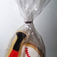Baseball Bat And Ball cookies are NFSC with royal icing.