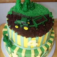 John Deere Birthday Cake chocolate and vanila cake with buttercream frosting, fondant accents. cake crumbs for dirt. tractor is a toy.
